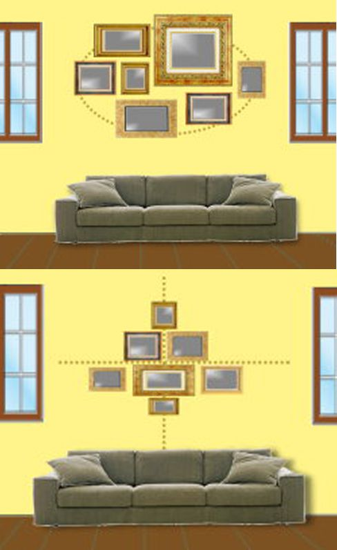 Two Ways Of Clustering Arranging Multiple Pictures Of Varying Sizes It Might Be Fun To Switch Up The F Home Design Decor Home Decor Photo Arrangements On Wall