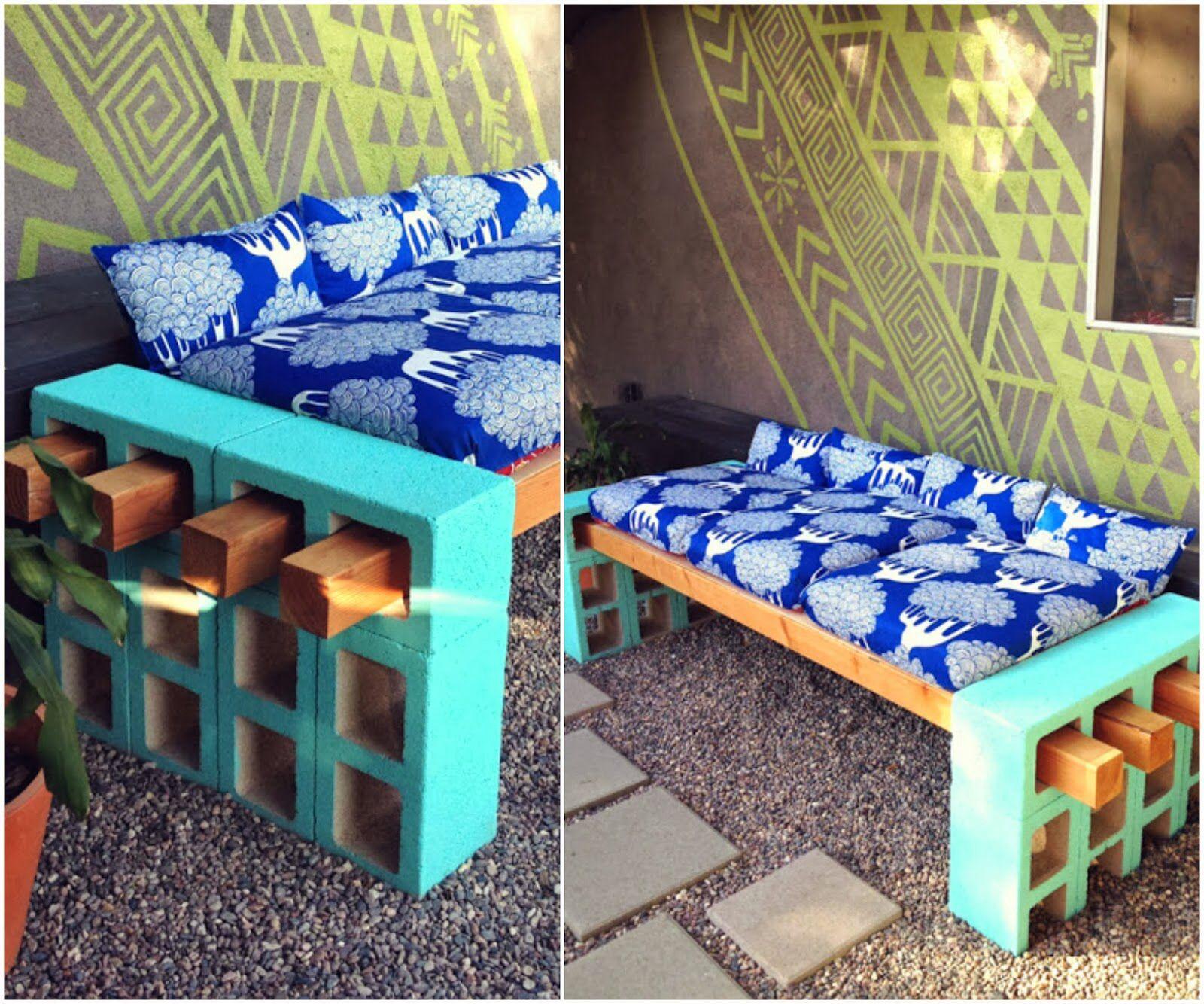 Sof feito com concreto pintado com tinta tiffany e ripas for Sofa exterior jardim