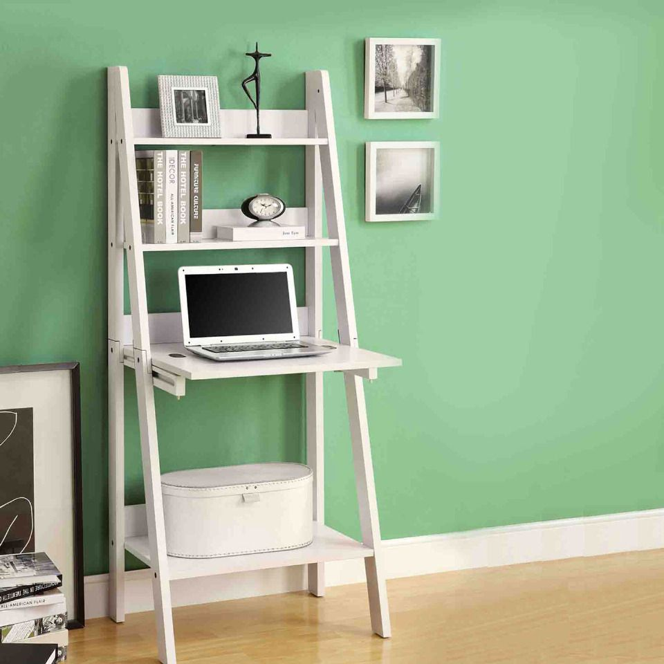 White ladder bookcase with dropdown desk for the home pinterest