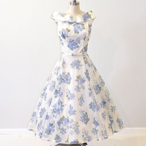 Amazing Vintage Dress, Floral Garden Party Dress U0026 Belt By Daisyandstella