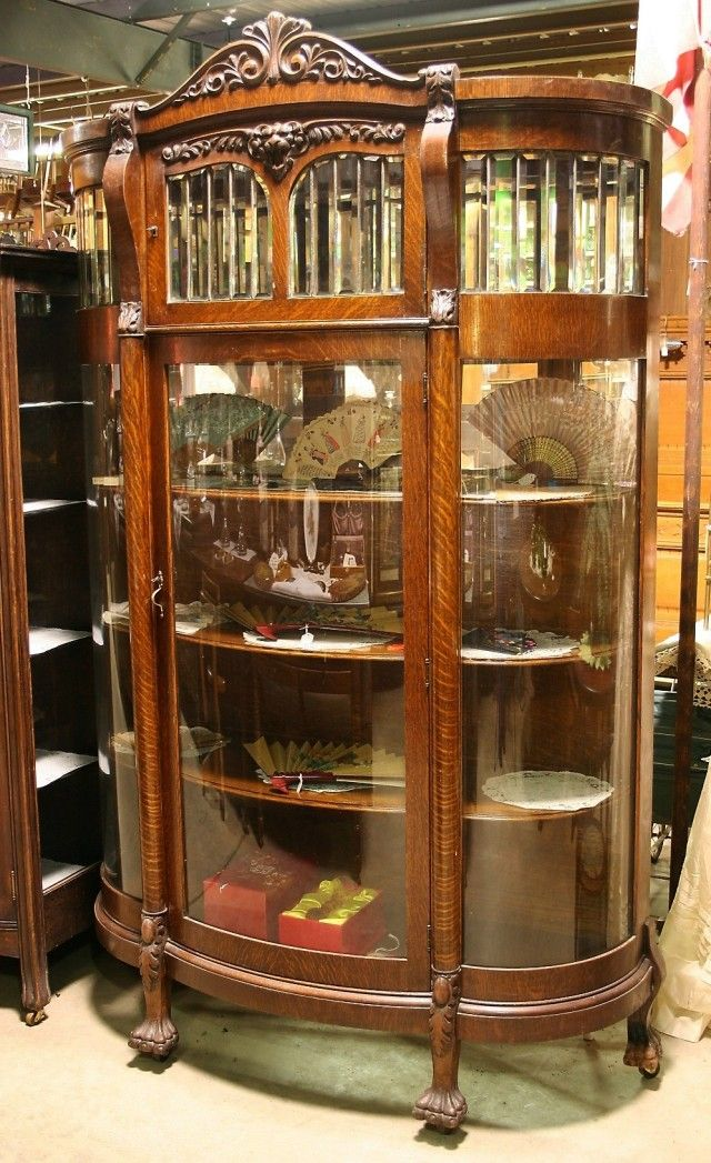 Oak China Cabinet With Images