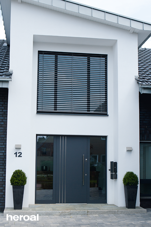 Grey Aluminum Front Door With Decorative Stainless Steel And Glass