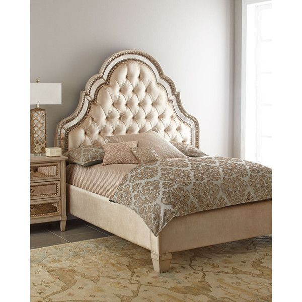 Horchow Melinda Queen Bed ($3,199) ❤ liked on Polyvore featuring