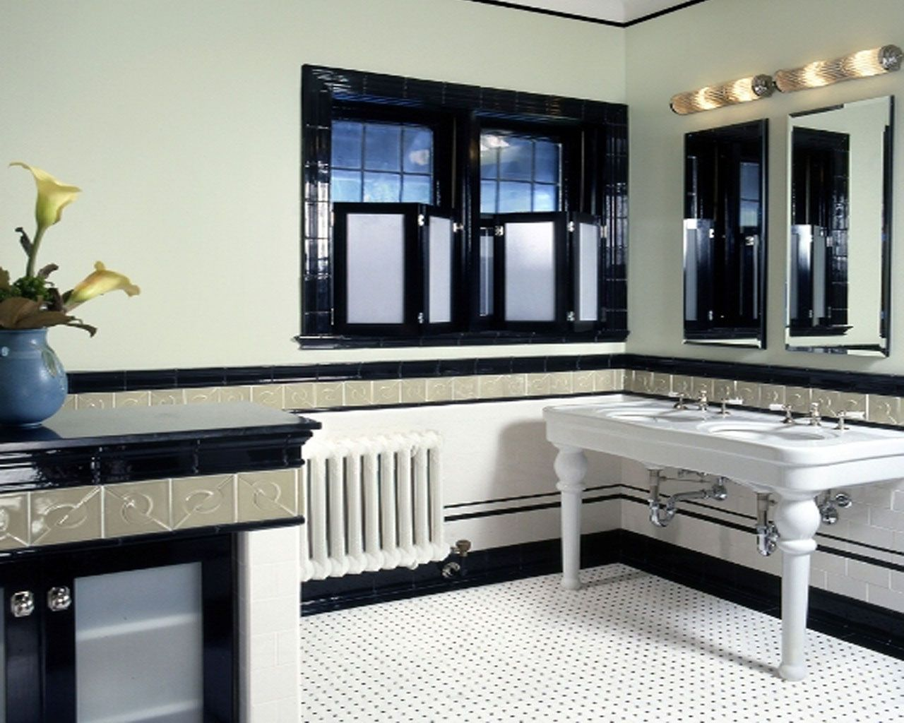 Bathroom Black White Art Deco Bathroom Interior Designs