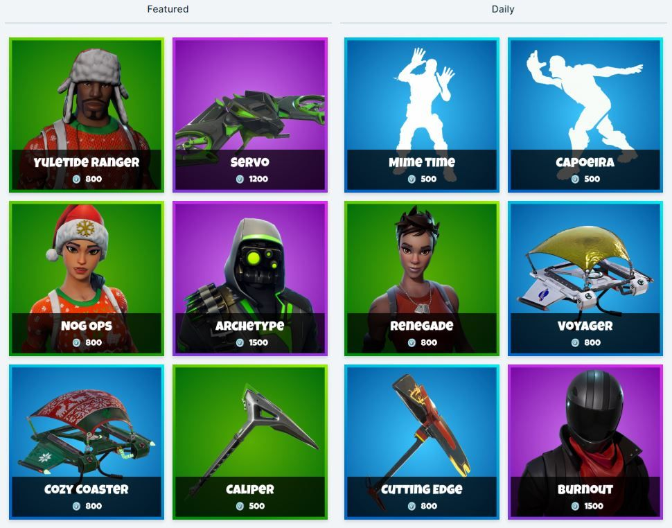 Daily Fortnite Item Shop 10th December Christmas Skins And