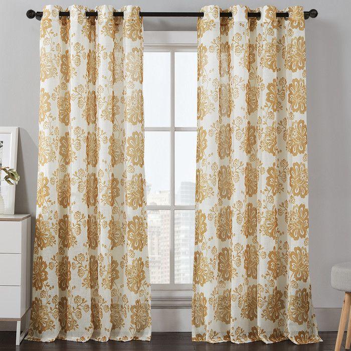 Floral Grommet Curtain Panel