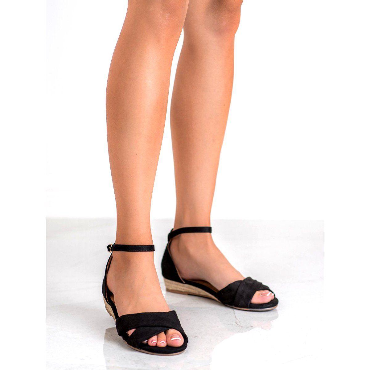 Clowse Zamszowe Sandaly Czarne Shoes Sandals Fashion