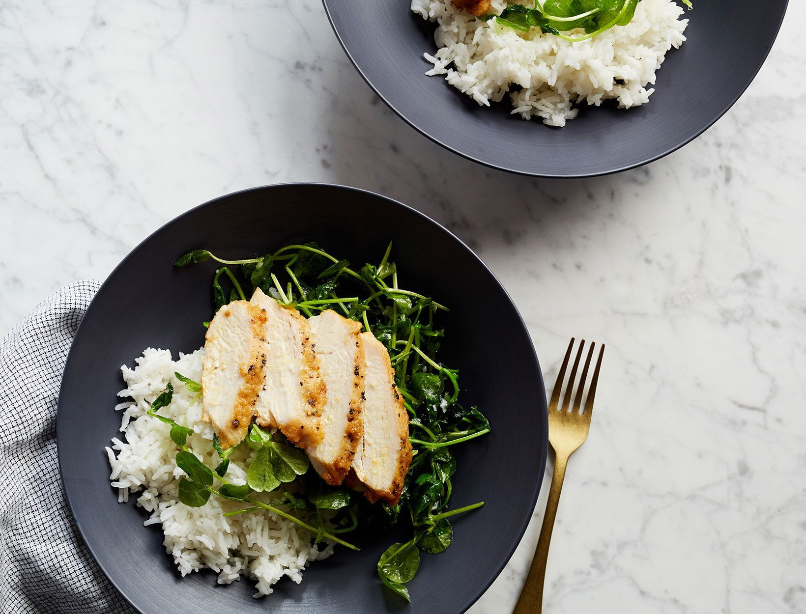 Crispy Chicken with Garlicky Pea Shoots