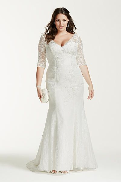 3 4 Sleeve Lace Trumpet Wedding Dress Plus Size More
