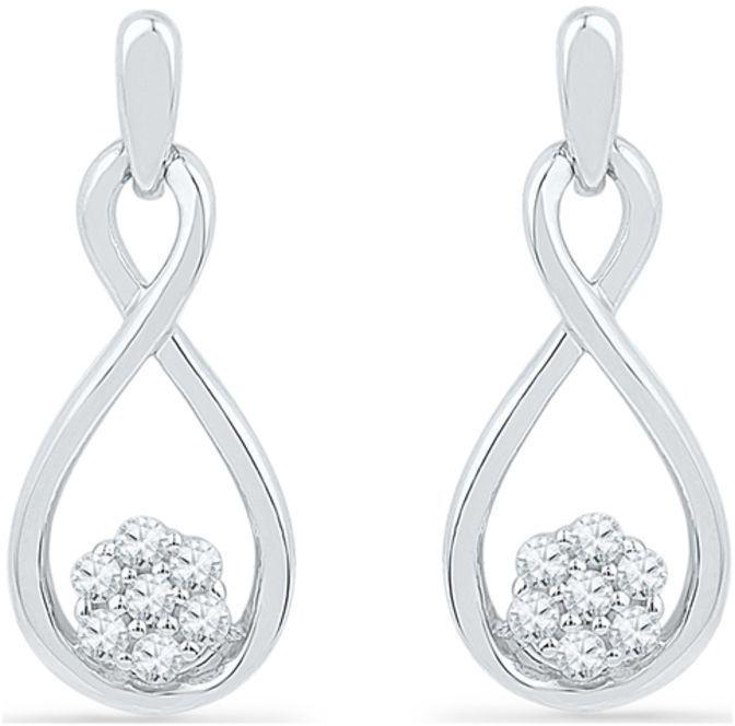 Zales 1/10 CT. T.w. Diamond Interlocking Infinity Hearts Drop Earrings in Sterling Silver and 10K Rose Gold S5T04Azx