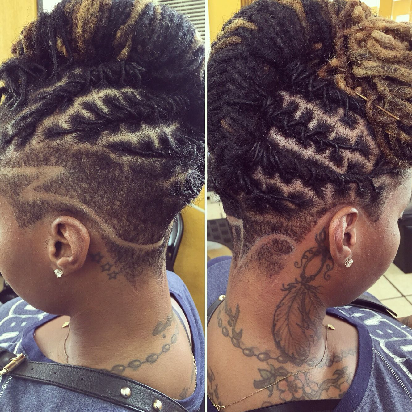 Locstyles shavedside haircutdesign womenwithlocs blondelocs