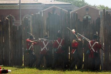 British at the Fort Stephenson Wall