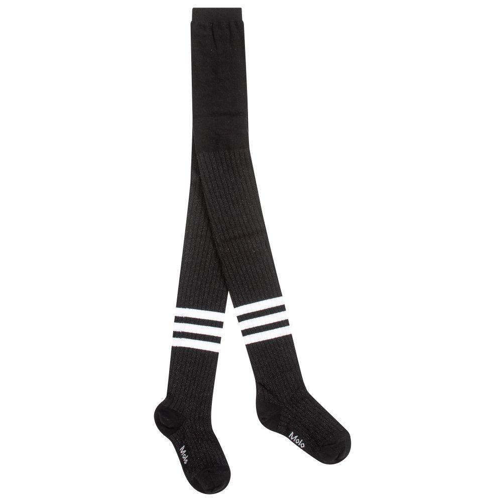 cbb7ec5199e Girls black ribbed tights by Molo
