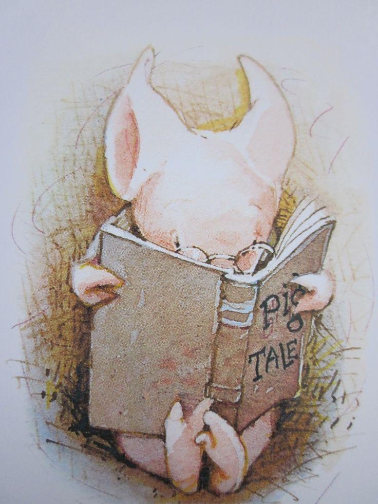 """bibliolectors: """" Pig reading stories of pig / Cerdito leyendo cuentos de  cerdos (ilustración de Holly …   Holly hobbie, Childrens books illustrations,  Toot & puddle"""