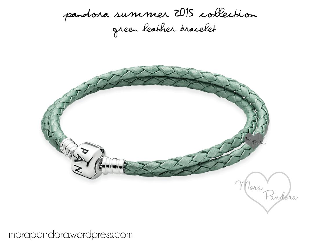 Green leather · pandora summer 2015 green leather bracelet