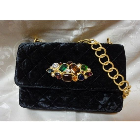 Early 90s vintage CHANEL velvet purse with gold chain