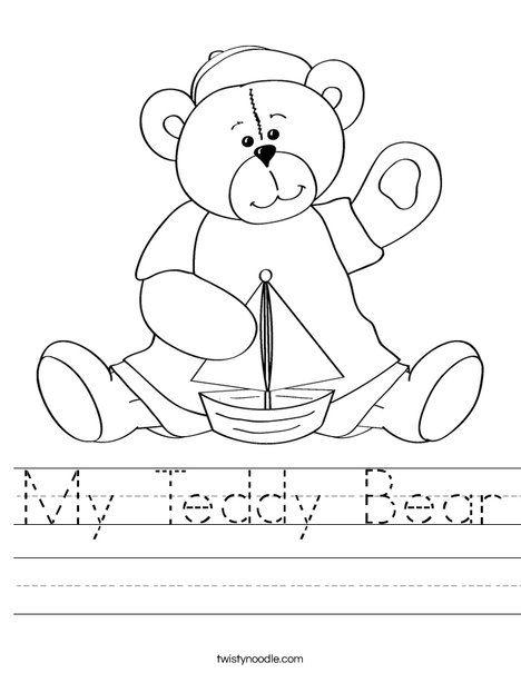 My Teddy Bear Worksheet From Twistynoodle Com Teddy Bear Crafts Kindergarten Worksheets Bears Preschool