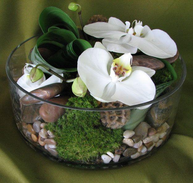 Orchid Flower Arrangements For Weddings: Low Cylinder W/ Moss & Rocks