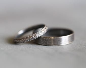 Charlene Wedding Rings Set Wedding Bands Sterling Silver