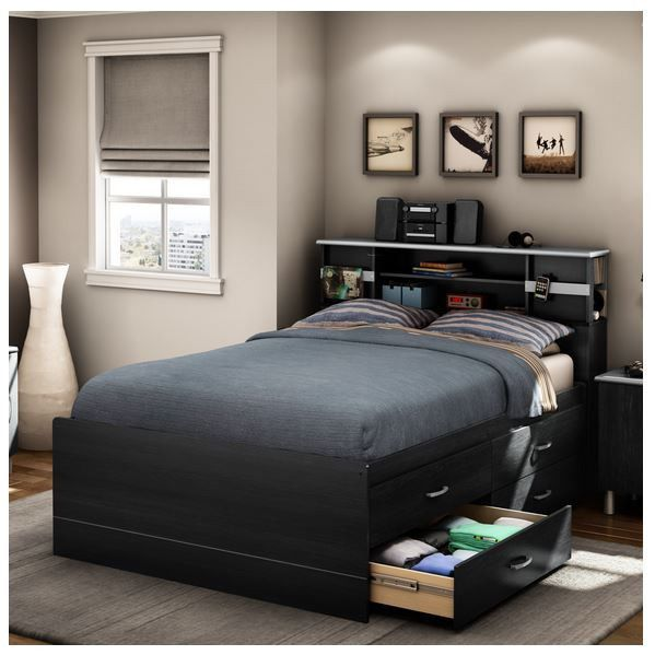 New Black Full Size Captain Platform Bed Frame W 4