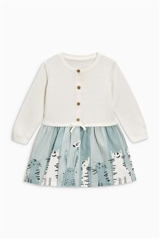 Buy Ecru Cat Print Knitted Top Dress (0mths-2yrs) from the Next UK online shop