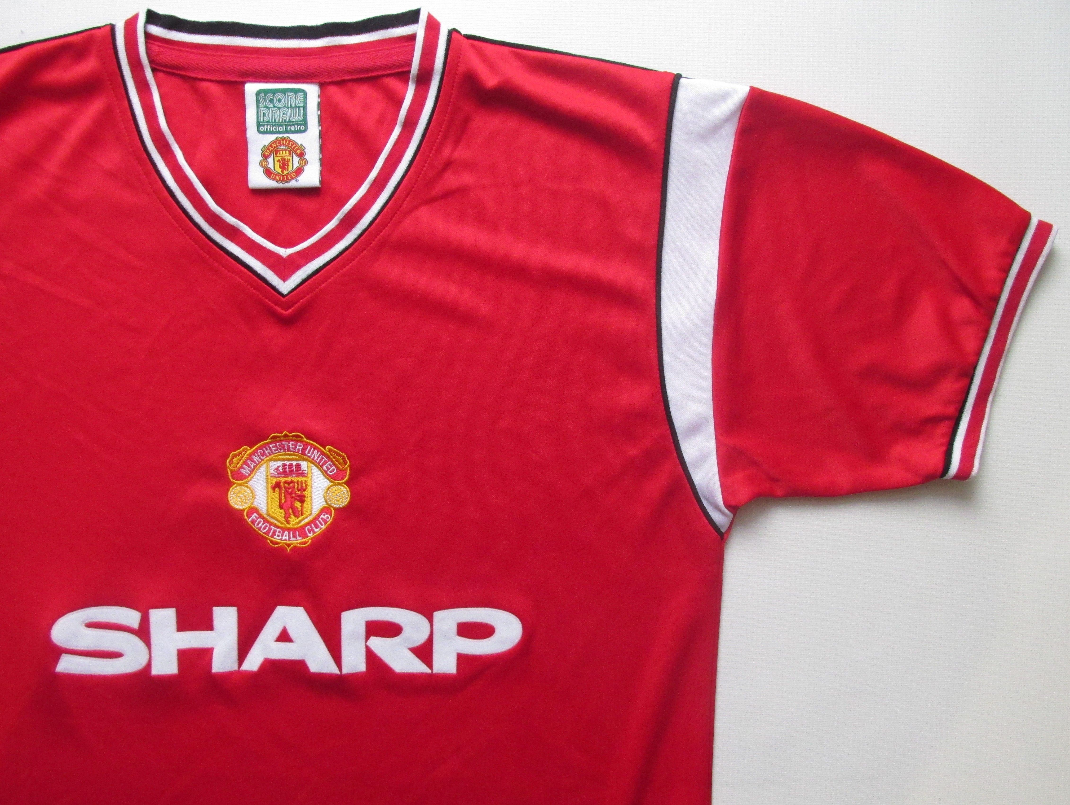 Manchester United 1984 1986 Home Retro Replica Football Shirt By Score Draw Mufc Manunited Reddevils Vintage Football Shirts Football Shirts Soccer Jersey