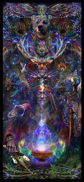 The Native Shaman breathes in the spirit of the Universe from his medicine bowl, activating his 3rd eye as he channels a totem of spirit animals to help guide him through his journey. He meditates in nature under the vast cosmos. His activated spirit bridges his body's soul with the celestial realm while he dissolves i