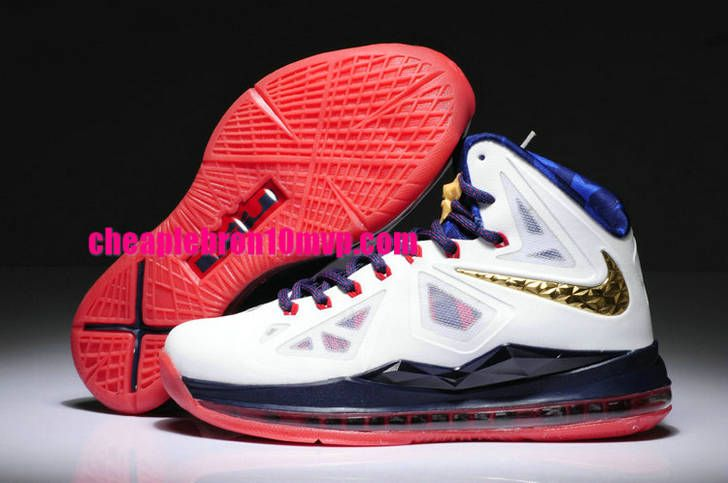 Lebron 10 Womens Olympic Team USA Gold Metallic Red White Cheap Lebron  James Shoes c3cd2a1dca