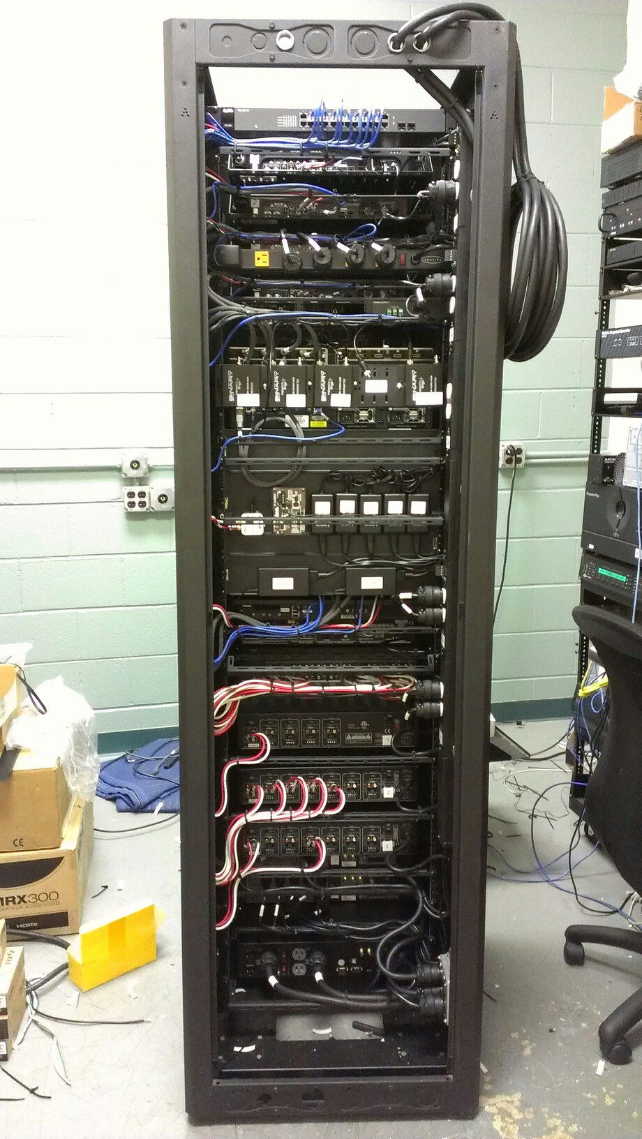 av distribution rack set up by a professional they did a great job  [ 920 x 1632 Pixel ]