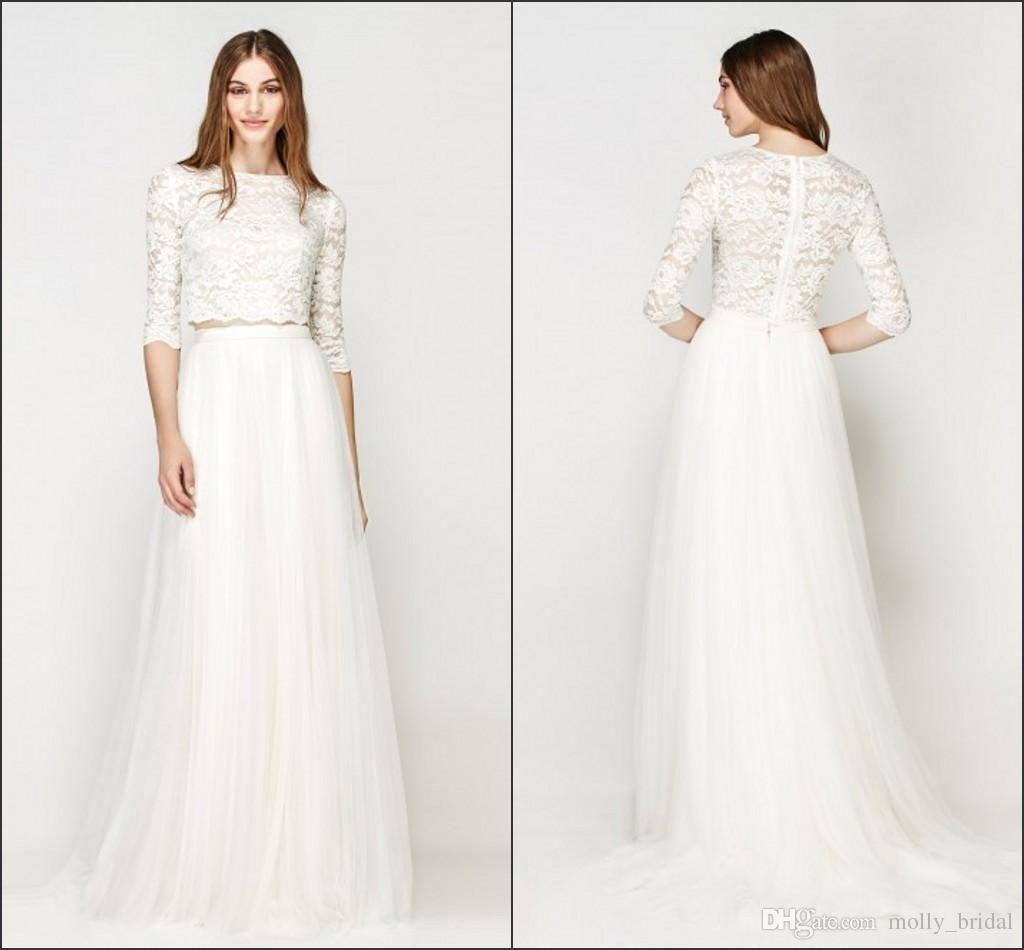 2017 Hottest Two Pieces Wedding Dresses Vintage Lace Illusion Long ...