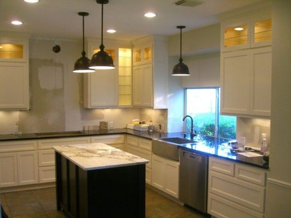 Image Of Track Lighting Over Kitchen Island With Outdoor Kitchen