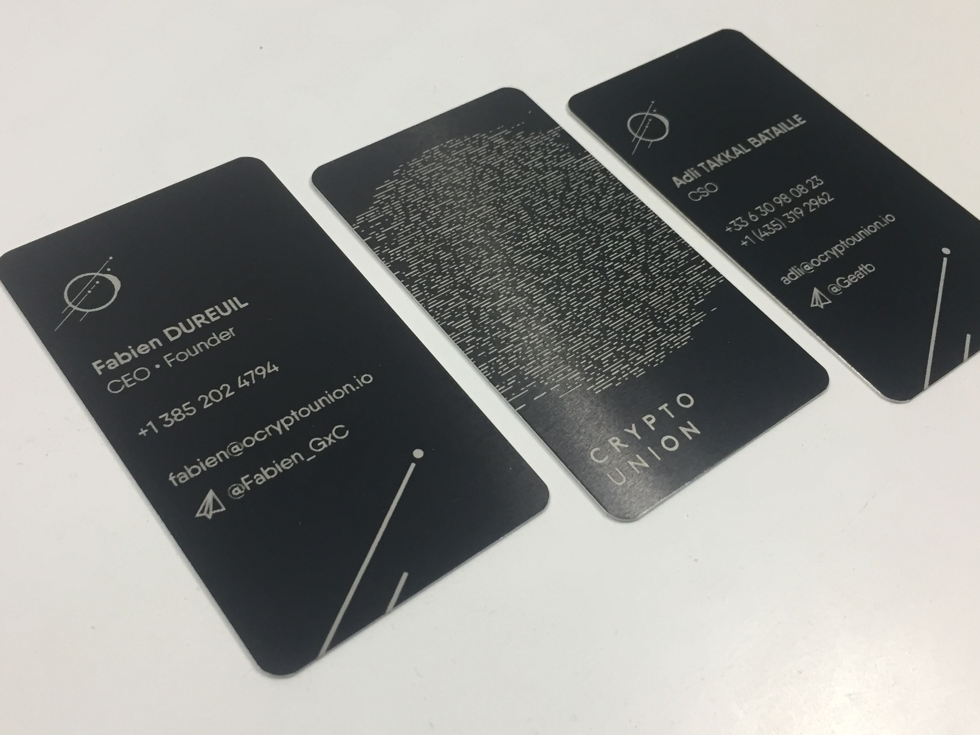 black engraved to silver metal business cards for a blockchain crypto company the amount of detail on the back is amazing check out our site to order - Engraved Business Cards