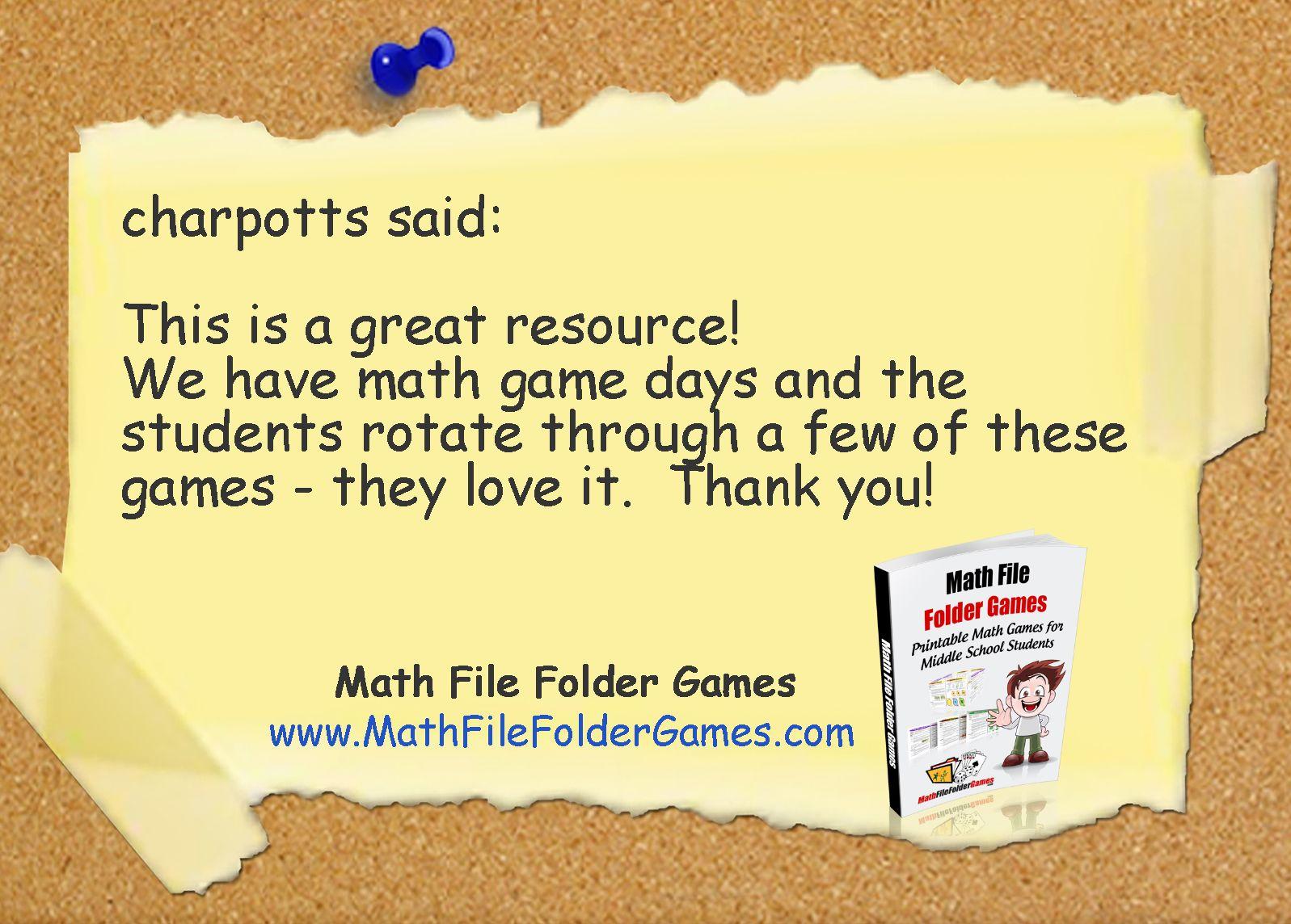Printable Math Games