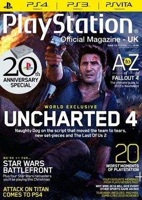Official PlayStation Magazine 115.   -Uncharted 4: a thief's end. -Readers' favourite playstation memories. -20 worst moments in playstation history. -The a-z of fallout 4.