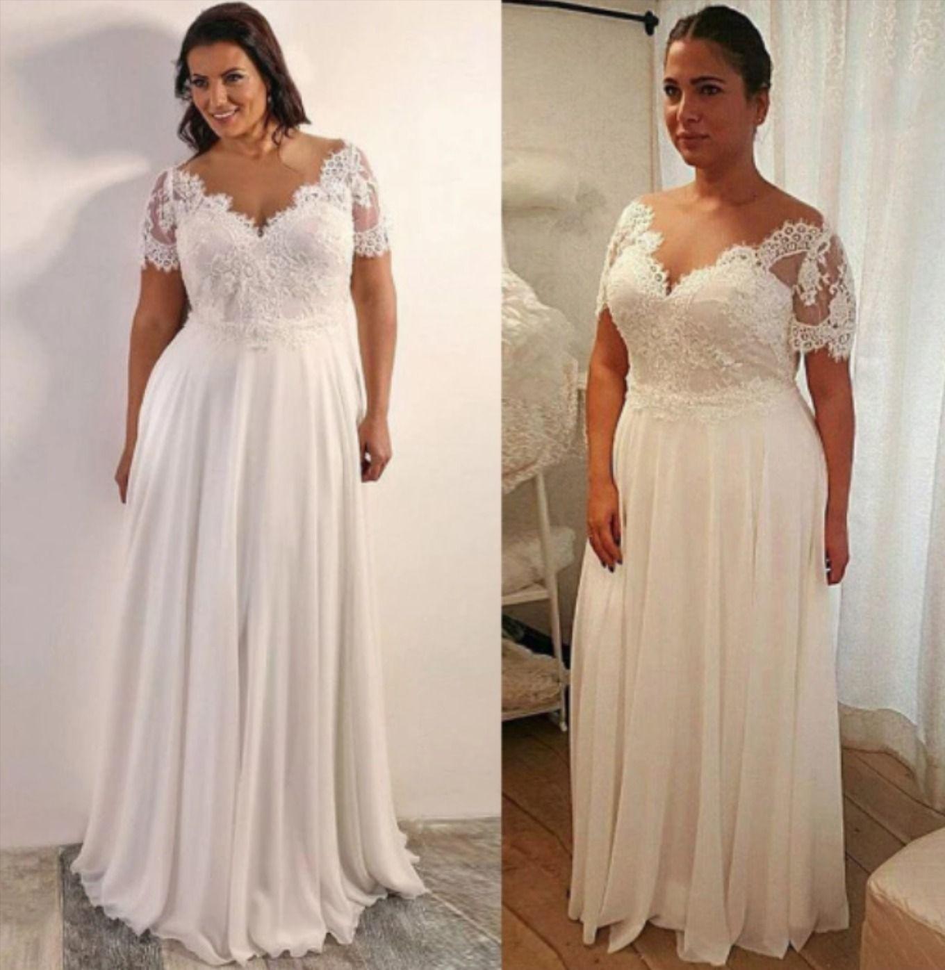 Plus size short sleeves chiffon Aline Wedding Dress in