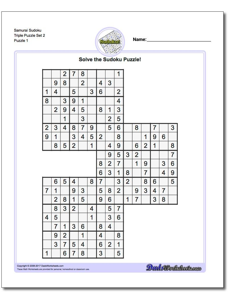 Workbooks wacky wordies worksheets : Samurai Sudoku Triples https://www.dadsworksheets.com/puzzles ...