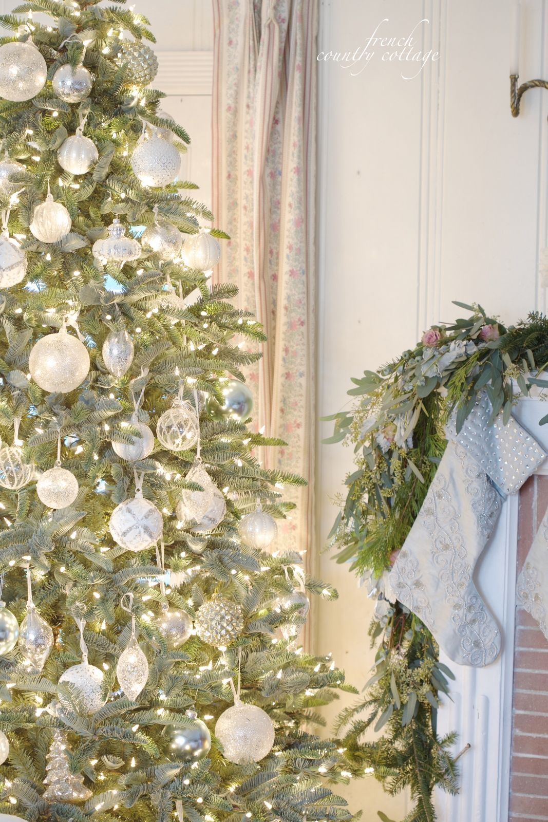 White & French blue sparkle Christmas Tree | christmas tree ...