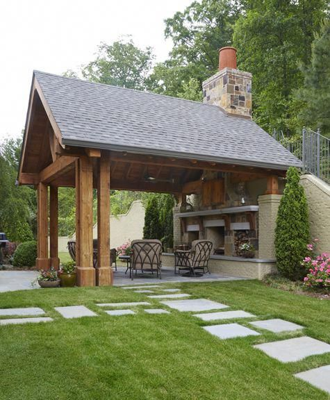 Outdoor Kitchen With Thatched Gazebo Outdoor In 2019: Pergola Over Garage Door #CheapPergolaIdeas
