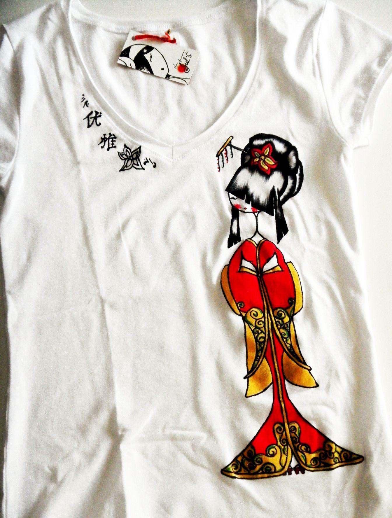 f17ca7818 camiseta pintada a mano geisha | Vestidos | Camisetas, Camiseta ...