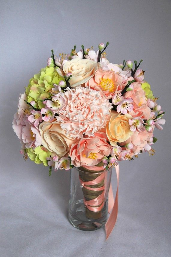 Wedding bouquet Cherry blossom pink rose and boutonniere $275.00 ...