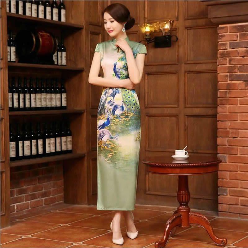 Long Silk Cheongsam Oriental Evening Dress Women Green Chinese ...