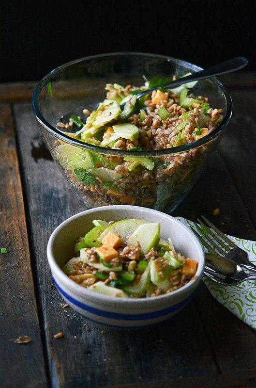 Farro, Cheddar, Walnut, and Apple Salad – A Virtual Salad Party   Fork Vs Spoon