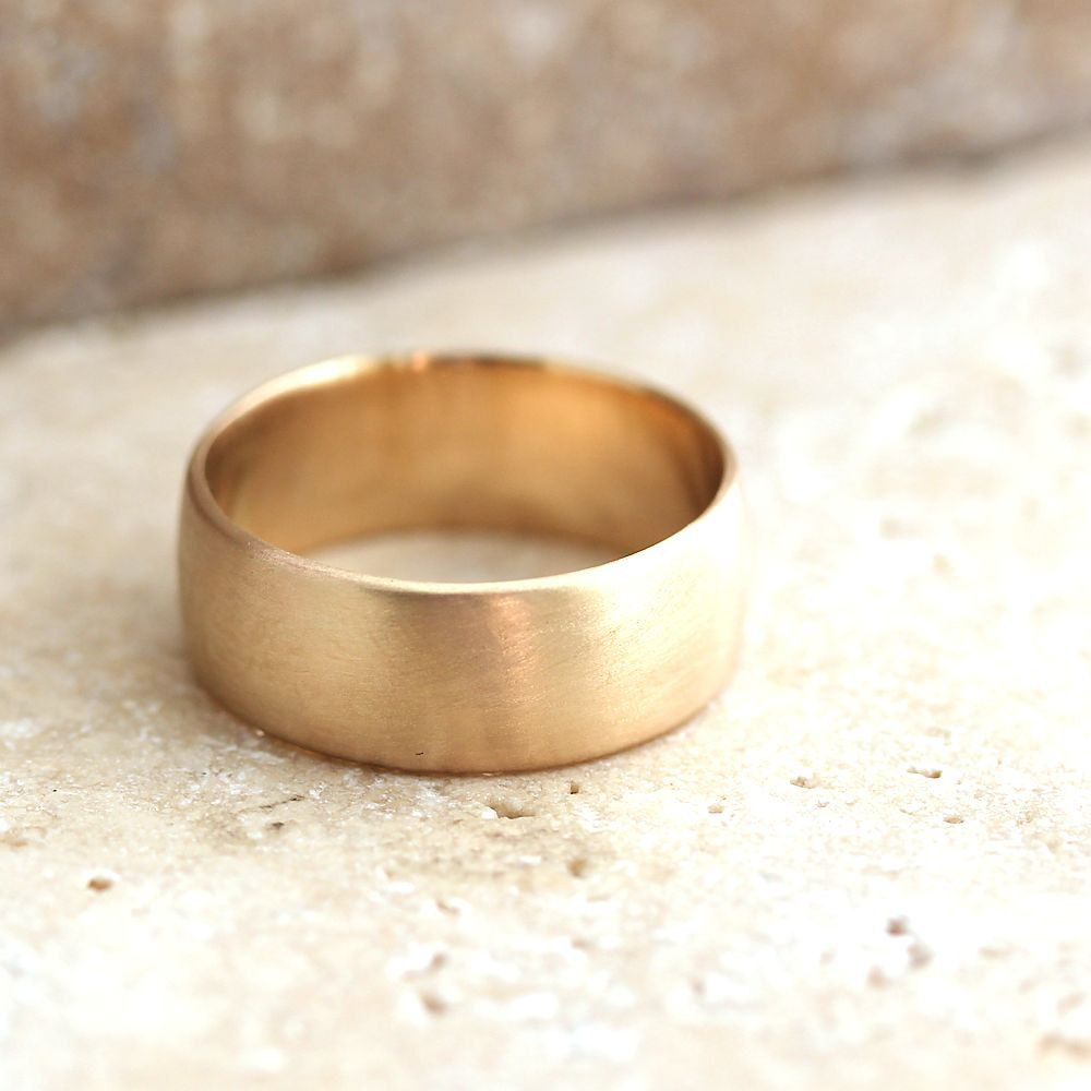 Wide Men S Gold Wedding Ring 8mm Low Dome Men S Wedding Band Recyled 10k Yellow Gold Made In Y Mens Wedding Rings Gold Gold Wedding Rings Wedding Rings 8mm