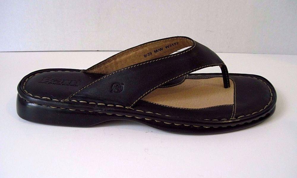 c8dd570dd555 Born Black Leather Sandals Flip Flop Thong Womens Size 8  39 Excellent  Condition  Born  FlipFlops  Casual