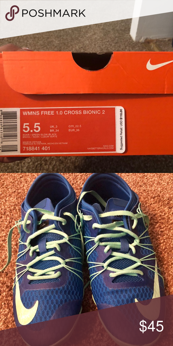 big sale 02930 18795 Women s Nike Free 1.0 cross bionic 2 Navy blue and teal laces- size 5.5-  worn twice, like new! Nike Shoes Sneakers