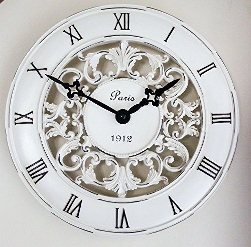 Shabby Chic Vintage French Style Wall Clock In Antique Cream Perfect Country Kitchen