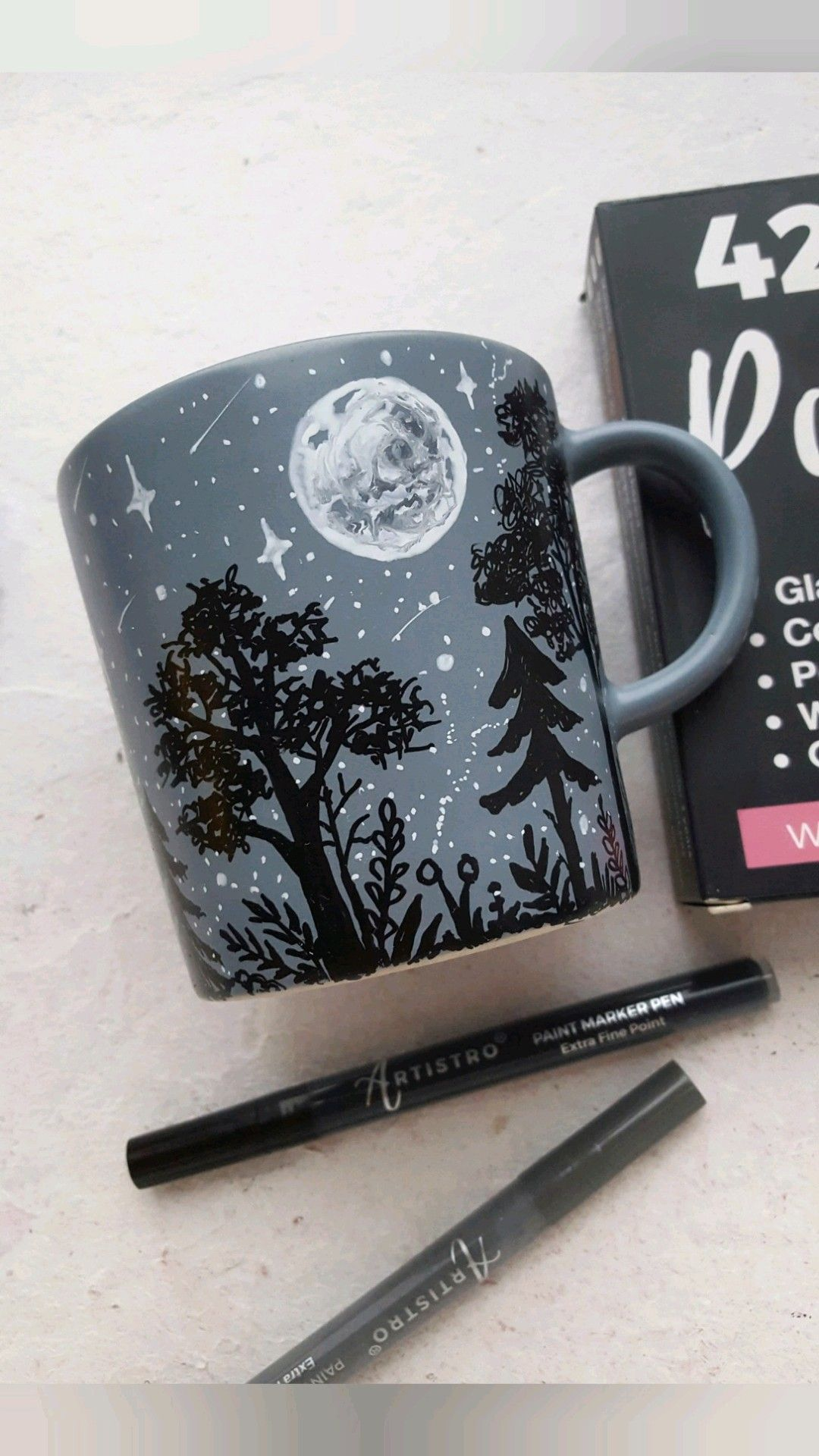Creative Mug Painting Design of the Moon
