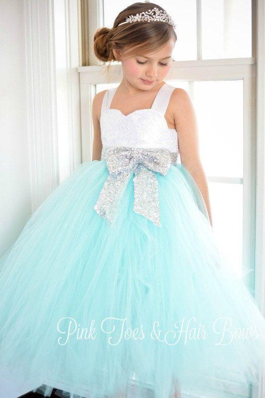Flower girl dress-birthday dress-aqua flower girl dress-silver ...