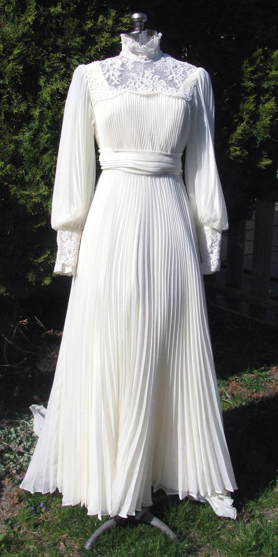 Vintage 1970s Wedding Dress Victorian Revival by