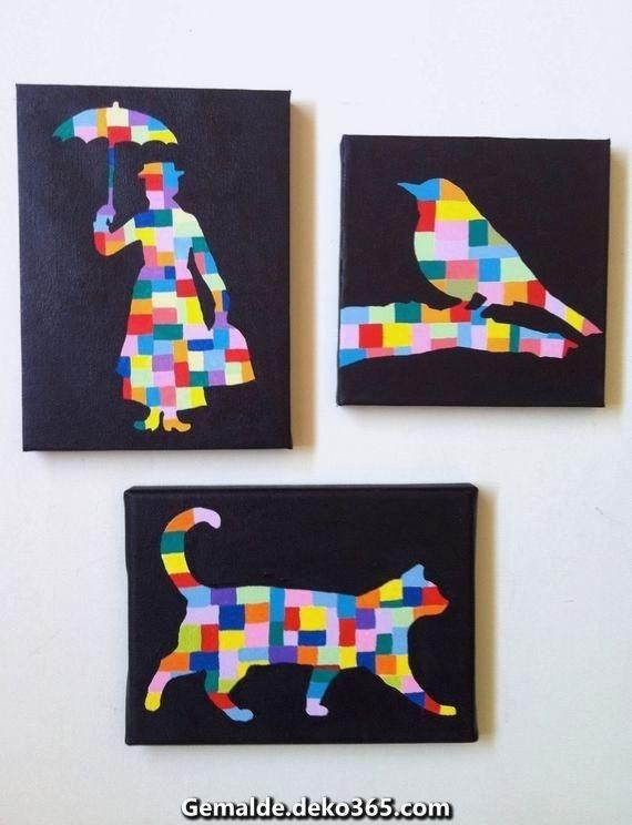 Zauberhafte Articoli simili hat 3 Originalgemälde / Acrylgemälde hinaus Schirm / unkonkret / ... #wasserfarbenkunst